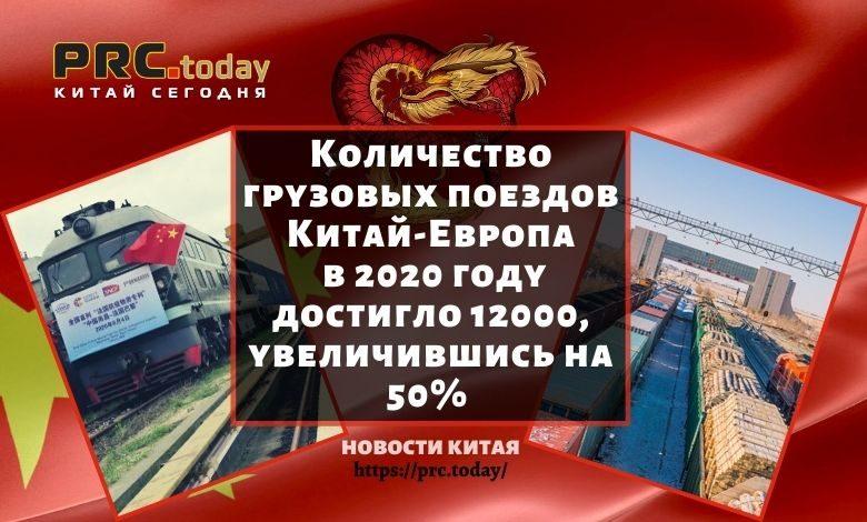 Количество грузовых поездов Китай–Европа в 2020 году достигло 12000, увеличившись на 50%