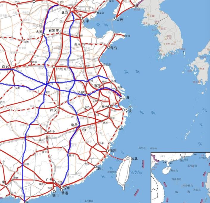 Пунктирная линия, пересекающая Тайваньский пролив в Тайбэй, является частью нового генерального плана развития инфраструктуры Пекина на 2035 год.