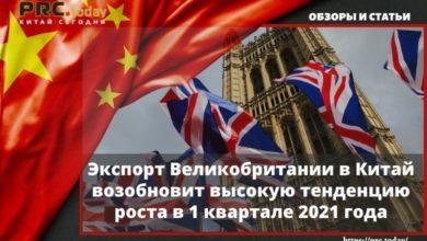 Экспорт Великобритании в Китай возобновит высокую тенденцию роста в 1 квартале 2021 года