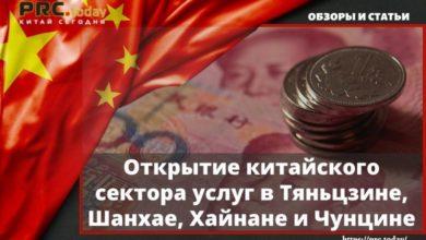 Открытие китайского сектора услуг в Тяньцзине, Шанхае, Хайнане и Чунцине